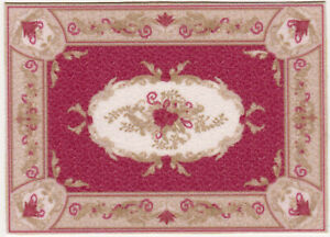 """Dollhouse Miniature Red Oriental Style Accent Rug 4 5/8"""" x 3 1/4"""" RG236"""