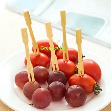 100 X Wooden Cocktail Forks Camping Party BBQ Appetizer Picnic Wedding
