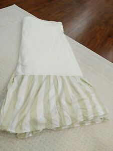 Rachel Ashwell Simply Shabby Chic White Green Striped full Bedskirt Dust Ruffle