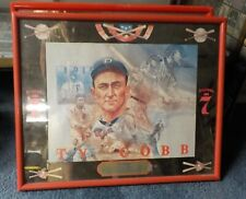 "SEAGRAM'S 7 VINTAGE BASEBALL TY COBB BAR MIRROR HOF GEORGIA PEACH 21"" X 17"""
