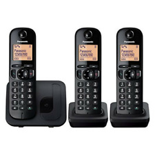 PANASONIC TGC213 CORDLESS TRIO HOME PHONE WITH CALL BLOCKER BLACK KX-TGC213EB