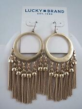 Lucky Brand hammered gold tone hoop~fringe dangle earrings, NWT