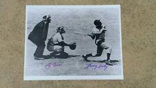 YOGI BERRA & LARRY DOBY SIGNED 11X14 B&W HOF LIBRARY PHOTO TWO GREAT GUYS