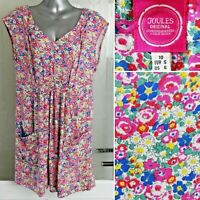 Joules Elodie Ditsy Dress 10 Tunic Top Floral Print Pockets Mini Pink Cap Sleeve