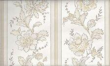 Cream on Cream Floral in Stripe Satin Wallpaper 61714