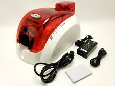 Evolis Pebble 4 Thermal Card Printer With Power Supply And Printer Cable - Red