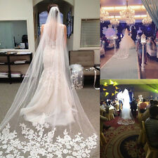 One Layer White Cathedral Length Lace Edge Bride Wedding .Bridal Long Veil
