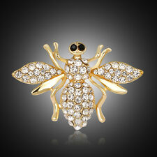 Fashion Amazing Gold Plated White Rhinestones Bee Birthday Gift Brooch Pin