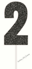 2ND BIRTHDAY PARTY SIGN CAKE TOPPER NUMBER TWO GLITTER BLACK 2 PICK 21ST 25TH
