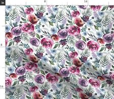 Plum Watercolor Floral Red Roses Flower Wedding Spoonflower Fabric by the Yard