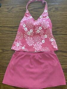 LL Bean Women's Size 8 Swimsuit  2 pc Top and Bottom Pink & White Floral