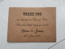 10 Personalised Vintage Brown Rustic Wedding Lottery Ticket Envelopes Favours