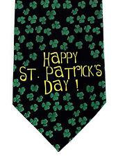 Happy St Patrick's Day Men's Neck Tie Irish Gift Shamrocks Novelty Black Necktie