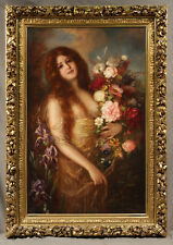 """""""Young Woman with Flowers"""" Theodor Recknagel (1865-1945) German Oil Painting"""