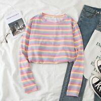 Women Fashion Rainbow Striped Long Sleeve O-Neck Blouse T-Shirt Tops Blouse USA