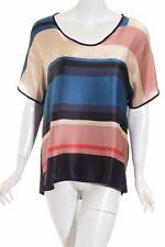 JOOP! T-Shirt Streifenmuster Casual-Look Damen Gr. DE 42 dunkelblau Seide