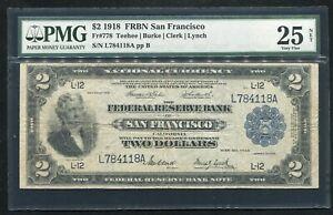 "FR. 778 1918 $2 ""BATTLESHIP"" FRBN SAN FRANCSICO, CA PMG VF-25"