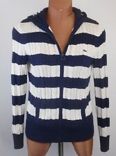 LACOSTE Womens Navy Blue Nautical Stripe Full Zip Hooded Cableknit Sweater 38 6