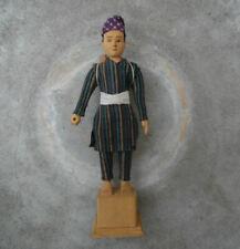Vintage Carved Wood Figure Javanese Man In Traditional Woven Tenun Luric Fabric