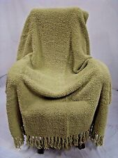 """Green Large Chenille Blanket Fringe Soft Thick Warm 70""""L 50""""W Winter Cozy Throw"""