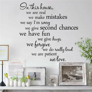Household In this house We Are Real Wall Sticker Quotes Words Home Decor .