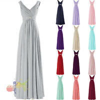 Chiffon V-Neck Long Bridesmaid Formal Gown Ball Party Evening Prom Dress stocked