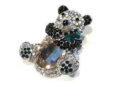 Bijou  alliage argenté broche de créateur ours cristal brooch