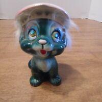 Vintage Kreiss Puppy Dog Figurine turquoise Hat Rhinestone Eyes Rabbit Fur Hair