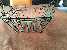 Green Plastic Coated Wire Fruit Basket, 9x9x4.5, 2 Handles,