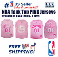 Pets First NBA Pink Jersey - 4 Basketball Licensed Teams, 4 sizes for DOGS, CATS