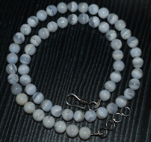"""Natural White Lace Agate Gemstone 8-9 mm Round Beads 12"""" Strand Nacklace SDRGX21"""