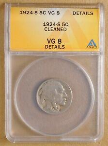 1924-S Buffalo Nickel ANACS VG-8 Better Coin