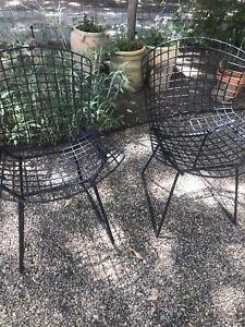 Pair Bertoia Wire Chairs Mid Century modern