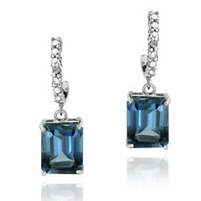 925 Silver 5.5ct London Blue Topaz & Diamond Rectangle Dangle Earrings