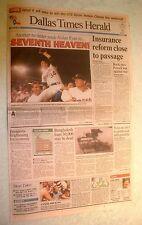 Nolan Ryan 7th No-Hitter -- Original Dallas Newspaper