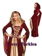 Deluxe Burgundy Gown Game Thrones Renaissance Medieval Queen Fancy Dress Costume