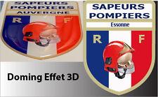 1 STICKER SAPEUR POMPIER RECOUVERT DE RESINE EFFET 3D 8X6CM Essonne
