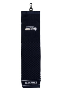 """NFL Seattle Seahawks Golf Towel Embroidered Tri-Fold 16"""" x 22"""" Hook Bag Clip"""