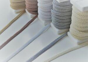 Beautiful decorative viscose braid tape 10 mm wide, clothing upholstery decor