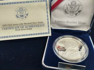 2005 P Chief Justice John Marshall Proof Silver Dollar with Box/COA - US Coins