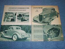 """1933 Ford 5-Window Hot Rod Coupe Vintage Article """"Connoisseur Coupe"""""""