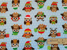 Holiday Hoot Owl Allover Northcott FLANNEL Fabric  by the 1/2 Yard  # F20333