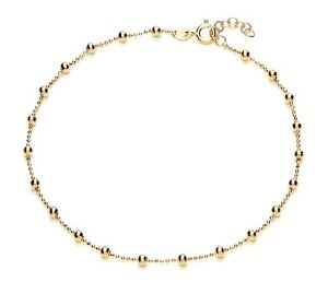 9ct Yellow Gold on Silver Beaded Ankle Bracelet / Anklet