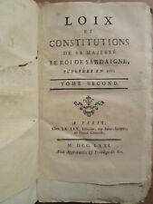 DONJON : LOIX ET CONSTITUTIONS DU ROI DE SARDAIGNE, 1770. Tome 2 seul (sur 2)