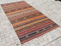 Turkish Kilim Rug 56''x116'' Hand Woven Sivas Cicim Kilim 144x297cm