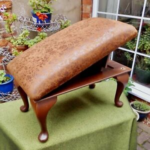 MID CENTURY ADJUSTABLE GOUT STOOL~FOOTREST~LE GREST HAVERHILL~NEW FAUX SUEDE UPH