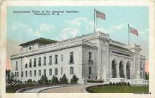 Washington Dc 2 Flags Over Union of the American Republics Bldg~Statues~Postcard
