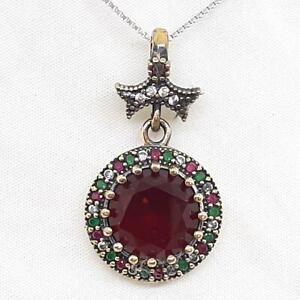 Deco 8.70ctw Ruby, Emerald & Diamond Cut Sapphire 14K Yellow Gold Silver Pendant