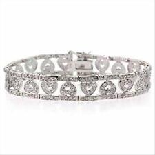 "925 Silver CZ Heart Bar Tennis Bracelet, 7"""