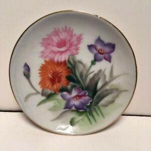 "Vintage Ucagco Ceramic Hand Painted/Transfer Floral Trinket Dish w/Gold Trim 4"""